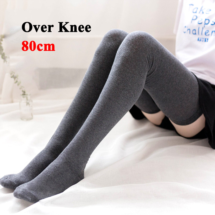 Over Knee Cotton Stockings For Women/Girls High Tight Solid Color Black White Grey Wine Red Casual Tights Autumn Winter Style