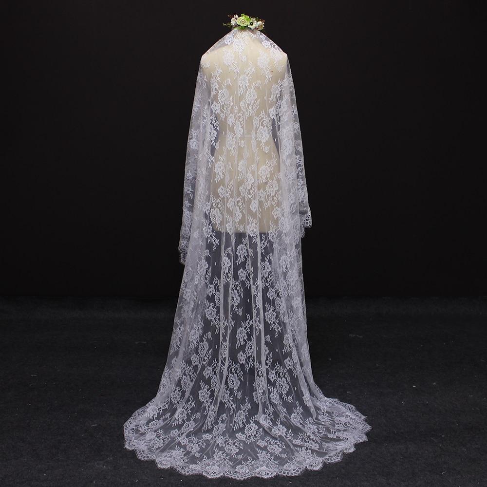 2017 echte afbeelding mooie bloem kant 2 meter bruidssluier MET kam - Bruiloft accessoires - Foto 3