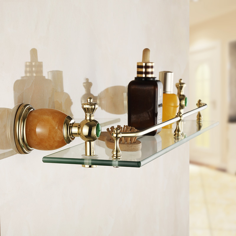 aliexpresscom buy free shipping bathroom accessories products single shelf jade made metal baseglass shelf cosmetics shelf wholesale 3813k from reliable - Bathroom Accessories Glass Shelf