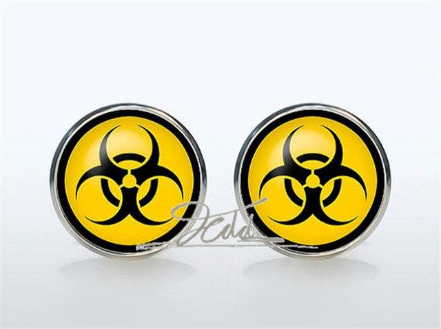 Biohazard Sign Cufflinks Silver Plated Biohazard Symbol Cufflinks