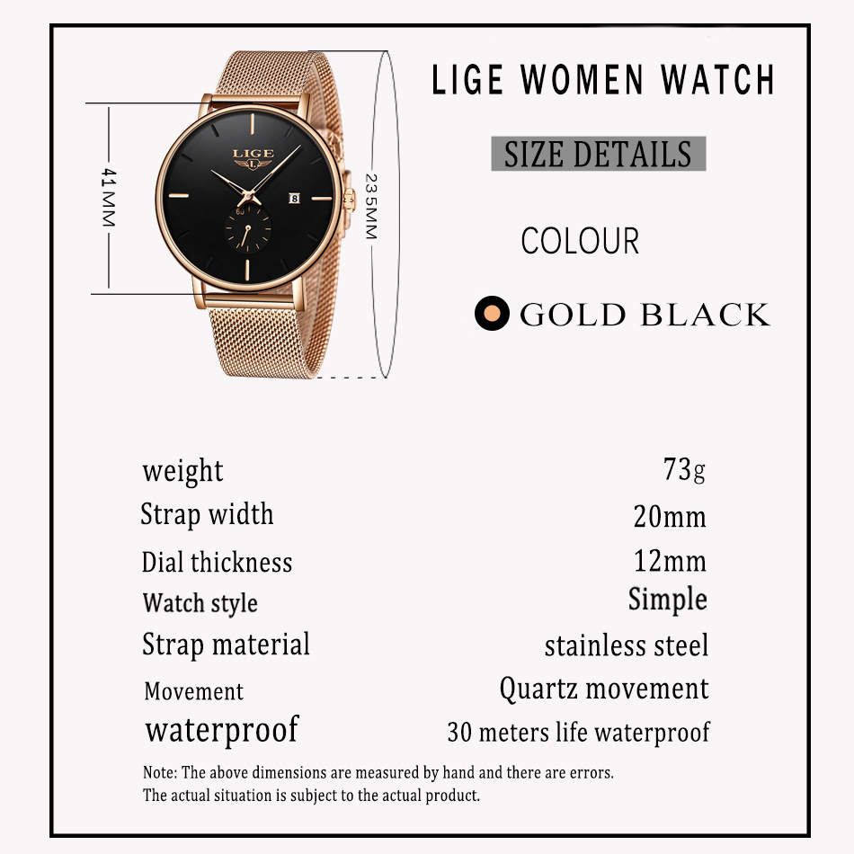 LIGE Luxury Women Metal Mesh Watch Simplicity Classic Fashion Casual Quartz Clock High Quality Women's Watches Relogio Feminino