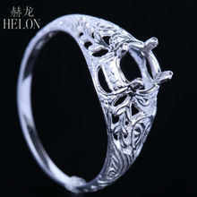 HELON 5.5-6mm Round Shape Vintage Art Nouveau Estate Semi Mount Ring Engagement Wedding Women's Jewelry Ring Solid 10k Rose Gold
