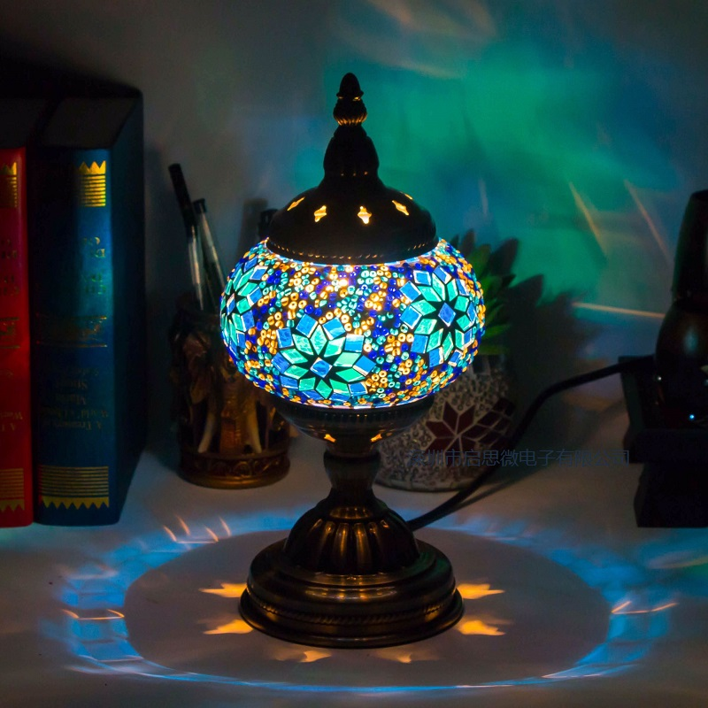 >Mediterranean <font><b>style</b></font> <font><b>Art</b></font> <font><b>Deco</b></font> Turkish Mosaic Table Lamp Handcrafted mosaic Glass romantic bed light