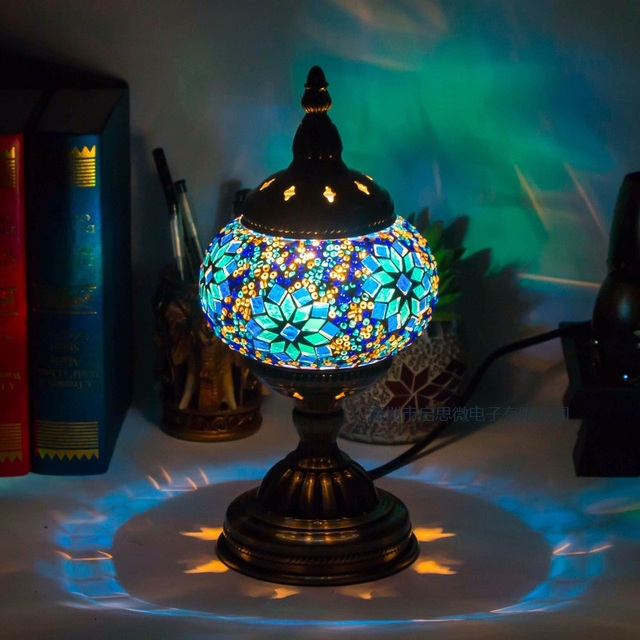 Mediterranean style art deco turkish mosaic table lamp handcrafted mediterranean style art deco turkish mosaic table lamp handcrafted mosaic glass romantic bed light aloadofball Images