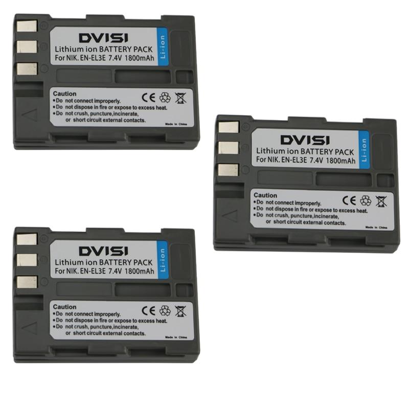 3Pcs 7.4V 1.8Ah EN-EL3e EN EL3e ENEL3e Rechargeable Camera Battery for Nikon D90 D700 D300 D80 D70 D50 D200 D300s D100 D70s