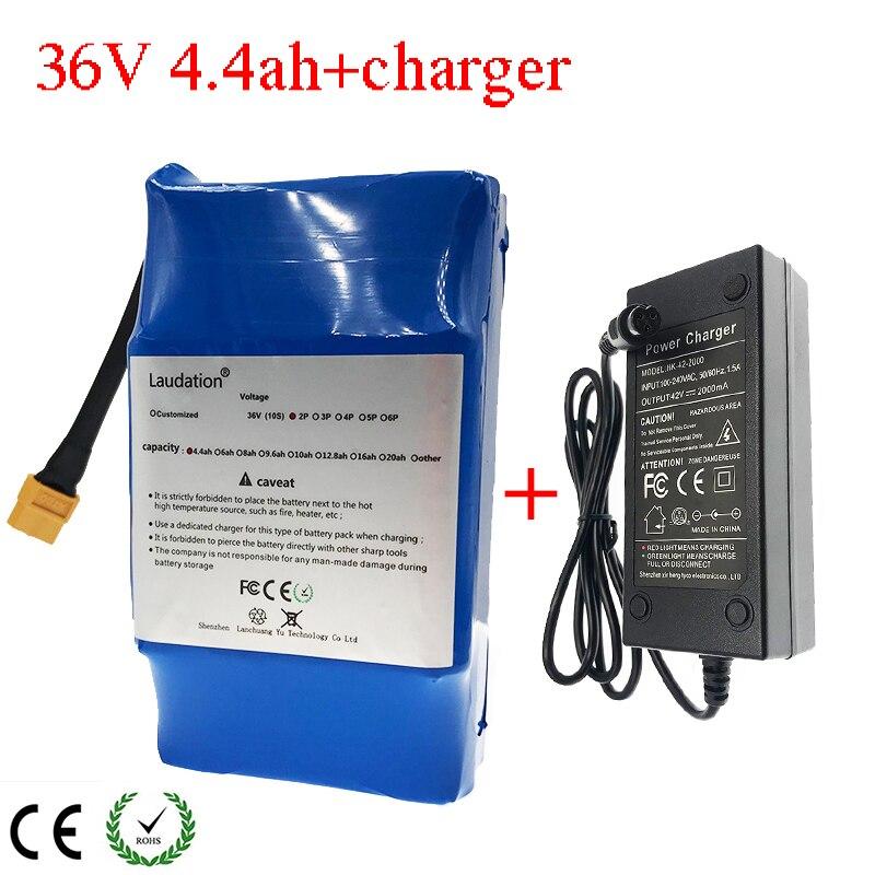 Laudation 4.4Ah 36 v 18650 Li-Ion batterie 10S2P pour Balance Scooter conseil 2 roues + 2A chargeur