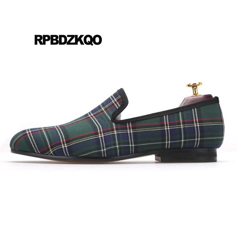 f2a3904e50d1 En Plaid Rouge Européen Mocassins Chaussures Grande Britannique D'été Vert  Piste Taille 11 Pour Personnalisé ...