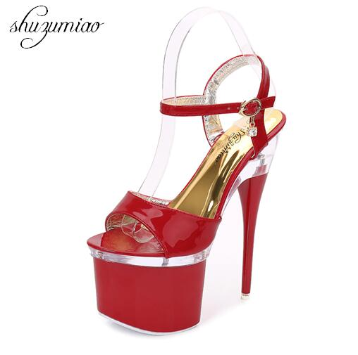 Steel Tube Dancing Shoes Women 2018 Summer New High Heel Peep Toe Sandals 18cm Thick the Bottom Waterproof 8.5cm Nightclub Shoes 15cm club shoes big star with steel tube dancing shoes 34 and 46 yards high with the lacquer that bake single crystal shoes