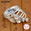 100% Real Pure 925 Sterling Silver Jewelry Ring S925 Elegant Natural Lily Flower Rings for Women Party Gifts Anillo SY20055