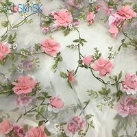 High grade good quality organza cloth 2meter/lot pink applique fabric wedding decoration 3D flower chiffon fabrics for patchwork