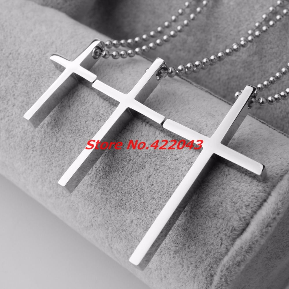 Stainless Steel big/Small Cross Pendant & Necklace For Men