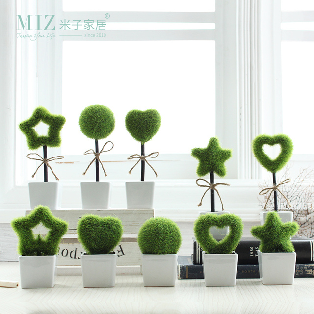 Miz Home 1 Piece Aritificial Plant Green Grass Home Decoration Mini Furry Ornament Living Room Decor LOVE Potted Plant Gift