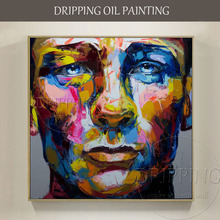 Excellent Artist Pure Hand-painted High Quality Abstract Daniel Craig Oil Painting on Canvas Rich Colors Figure