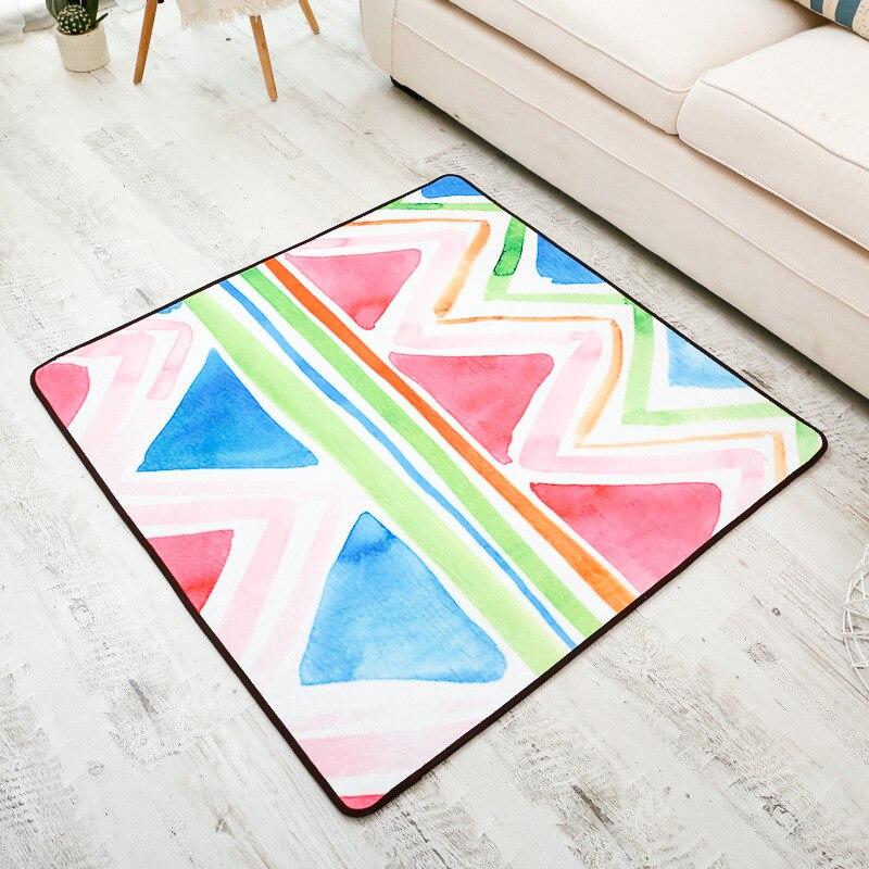 Mode abstraite peinture colorée flanelle couloir salon tapis zone tapis salle de bains cuisine étage pied porte tapis de Yoga carré