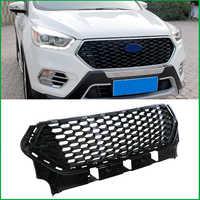 Für Ford Escape Kuga 2017 2018 FRONTSCHÜRZE Honeycomb RACING GRILL GRILLS Ersatz ABDECKUNG MASKE MODIFED Auto Styling Auto Teile