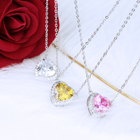 ZOZIRI brand cute pink heart necklace pendant for charm women funny colorful heart pendant 925 sterling silver classic jewelry