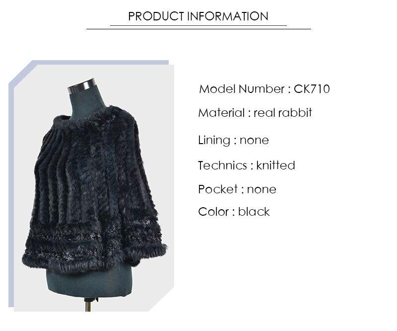 ̀ •́ Aorice C-K 710 real de punto con capucha de piel de conejo ...