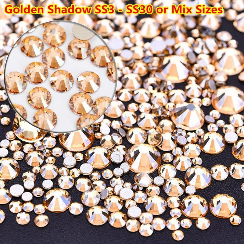 Новые золотые тени ss3 без горячей фиксации, Стразы для ногтей, прозрачные золотые наклейки для ногтей, хампанж, Свободные Стразы для украшен...