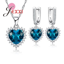 JEXXI Woman Bridal Wedding Jewelry Sets Shiny Zircon Rhinestone Heart Pendant Crystal 925 Sterling Silver Necklace Earrings
