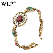 WLP 2017 Fashion Bohemian Bangles For Women Ancient Gold Color Rhinestone Resin Indian Jewelry Multicolor Charm Gifts W0016