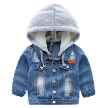 Flying Whales Teens Boys Denim Jackets Children Hooded