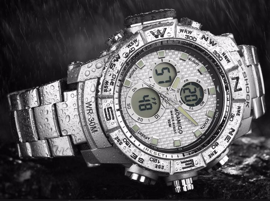 BOAMIGO Fashion Sport Man Watches Stainless Steel LED Digital Watch Analog Quartz Movement Waterproof Dual Display Wristwatches (5)