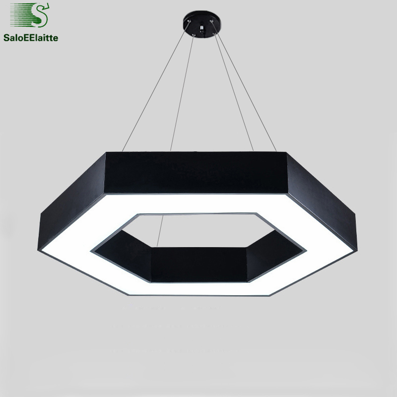 Modern Office Hexagon Led Pendant Light Minimalism Metal