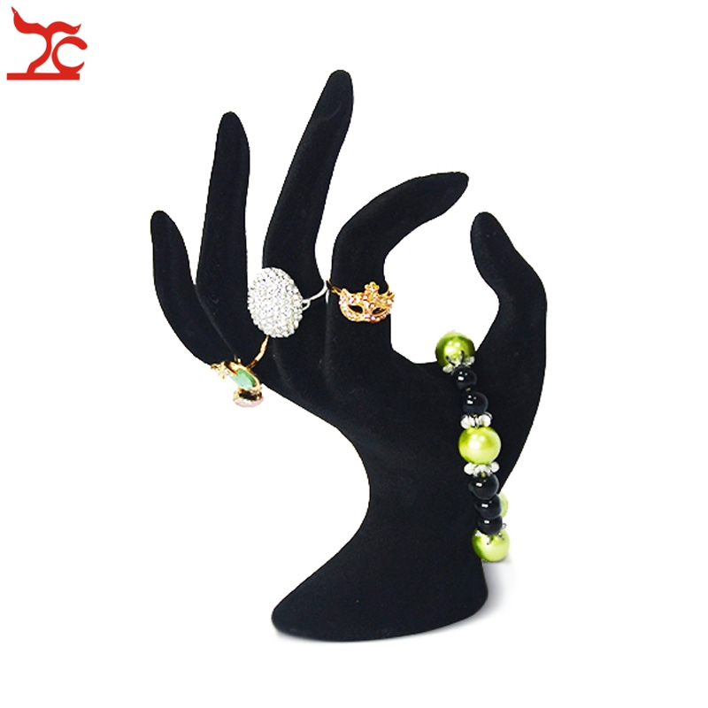 Lady OK Shaped Hand Jewelry Display Stand Black Velvet Hand Model Ring Bracelet Bangle Necklace Hanging Organizer Stand 11*17cmLady OK Shaped Hand Jewelry Display Stand Black Velvet Hand Model Ring Bracelet Bangle Necklace Hanging Organizer Stand 11*17cm