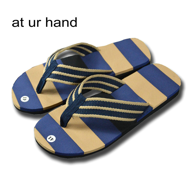 Mens Casual Striped Flip Flops Adult Summer Fashion Beach Shoes Sandals Home House Bathroom Nonslip Flat Slippers 2 Color nonslip beach starfish pattern 3pcs bathroom mats set