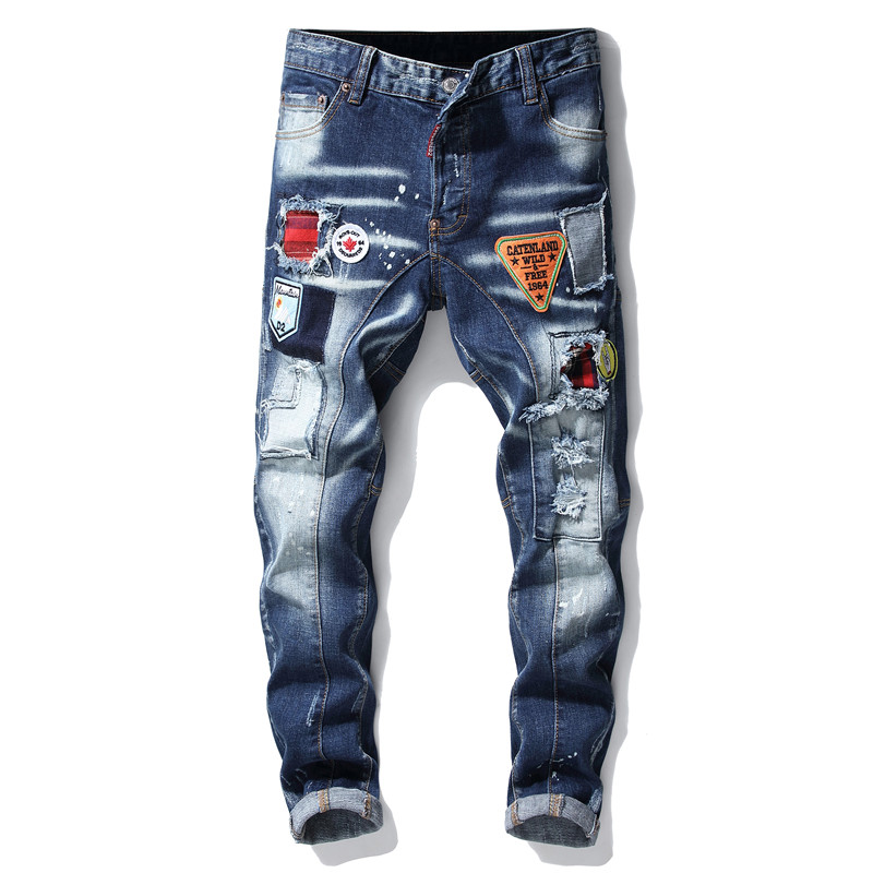 Torn ripped mens   jeans   blue embroidery skinny   jeans   pants men trousers clothing hip hop streetwear Spring fashion new