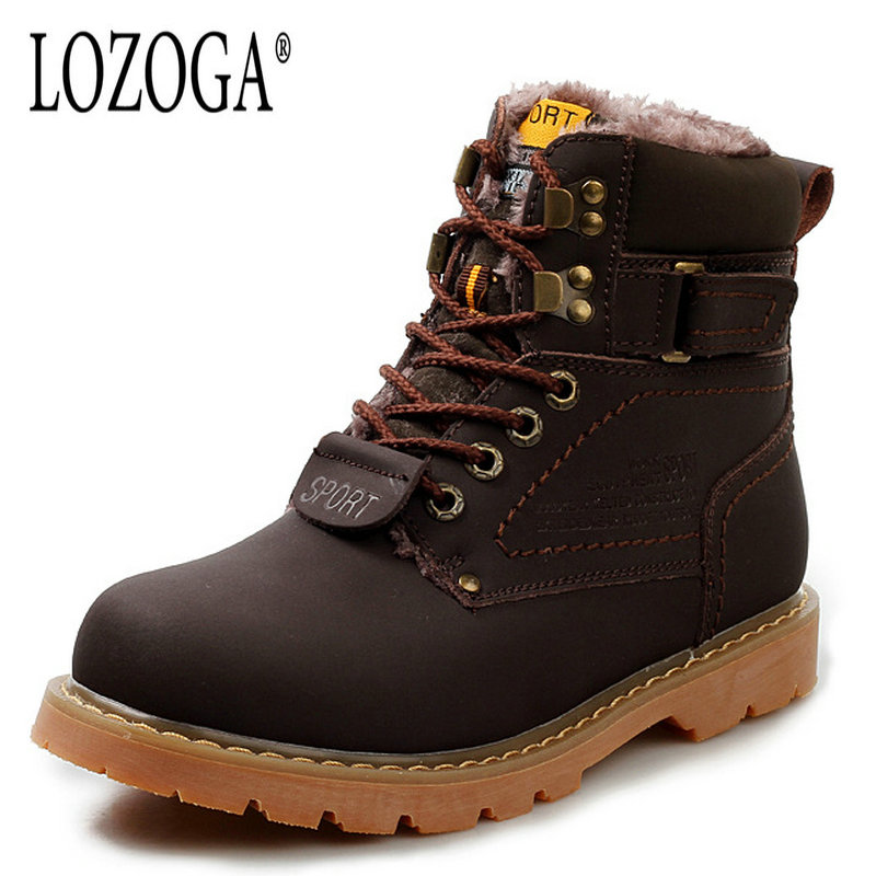LOZOGA Fashion Men Boots Genuine Leather High Quality Male Boots Lace-Up Handmade Work & Safety Boots Autumn Winter Boots Warm цены онлайн