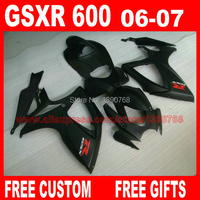 Popular Fairing kit for SUZUKI K6 GSX R 600 750 06 07 GSX-R 600/750 2006 2007 all matte black motorcycle fairings set BH66 casio ba 110be 7a