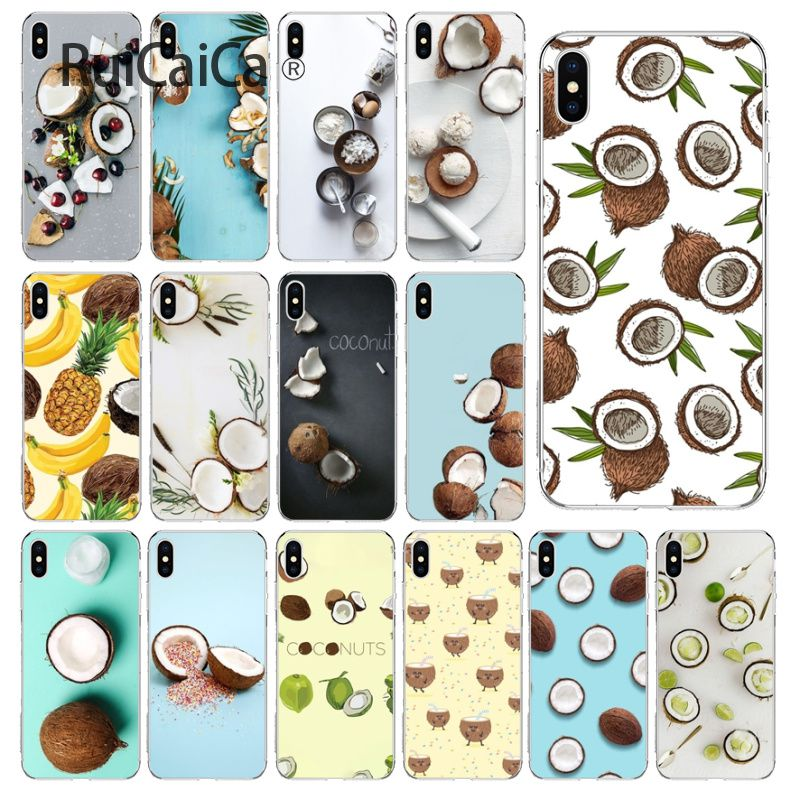 Ruicaica Fruit Coconut In Blue Sky Summe Soft Silicone Phone Case Cover for Apple iPhone 8 7 6 6S Plus X XS MAX 5 5S SE XR