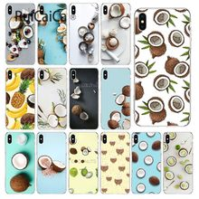 купить Ruicaica Fruit Coconut In Blue Sky Summe Soft Silicone Phone Case Cover for Apple iPhone 8 7 6 6S Plus X XS MAX 5 5S SE XR Cover по цене 48.85 рублей