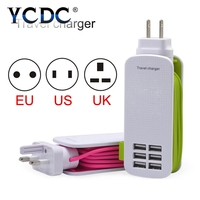 Portable 6 USB PORTS Wall Charger 5V 6A High Quality AC White Micro USB Power Adapter
