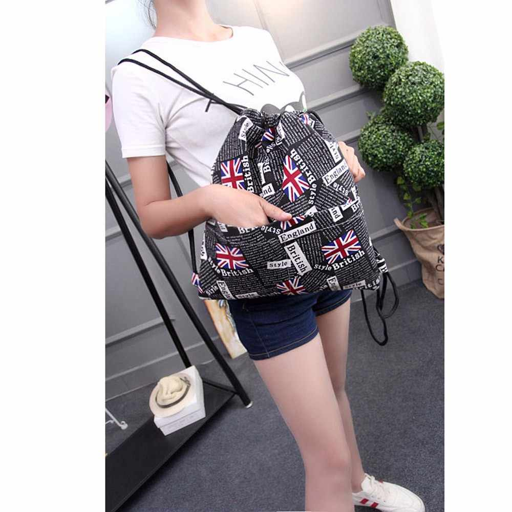 Fashion travel backpack Women UK Flag Printing Drawstring bag Beam Port  Pouch Backpack Shopping Bag mochilas 8699836660fdb