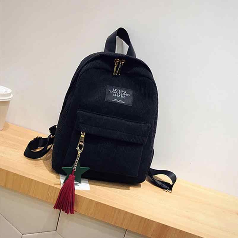 30f54501165e ... Женская мода холст кисточкой школьные ранцы путешествия рюкзак сумка  2018 элегантный дизайн школьный 18August8 ...