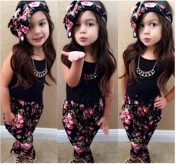 Mädchen Mode 3 Stücke Kinder Kleidung Set Neue Sommer ärmellose Schwarze T-shirt Blume Hosen Schal Kinder Kinder Mädchen Kleidung