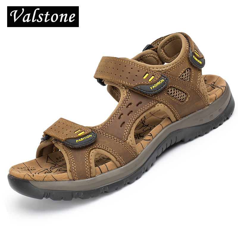 Valstone 2018 Mens sandals Luxury Brand Genuine leather Summer mens shoes male slippers outdoor Beach shoes for men sandalen