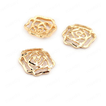 (33515)20PCS 11*11MM 24K Gold Color Brass Rose Charms Pendants High Quality Diy Jewelry Findings Accessories wholesale
