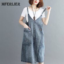 d3444885e08 Mferlier Women Summer Sleeveless Denim Dress Adjustable Spaghetti Strap V  Neck Big Pocket Artsy Women Dress