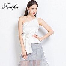 FANTFUR Short Design Women'S Slit Neckline Strapless Signle Shoulder Bow Slim Waist Slim Shirt Slim Oblique Sleeveless Top