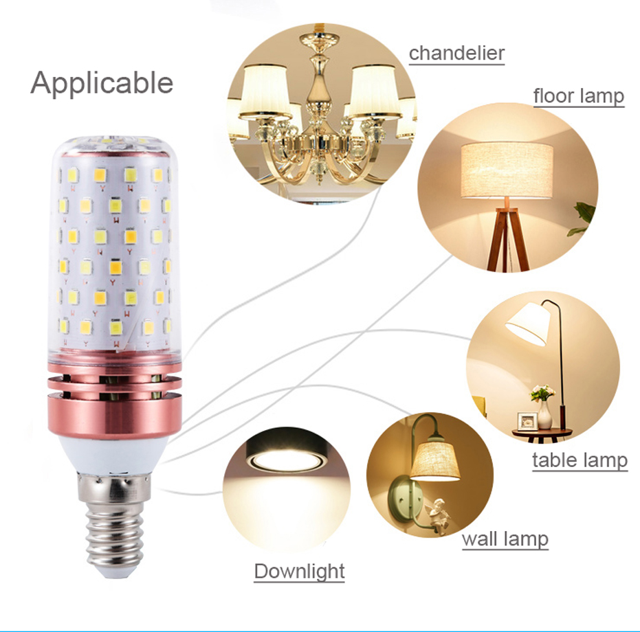 Image 5 - Lowest price 4pcs LED Corn Bulb E27 E14 SMD2835 No Flicker 8W 12W 16W 100V 240V Chandelier Candle LED Light For Home Decoration-in LED Bulbs & Tubes from Lights & Lighting
