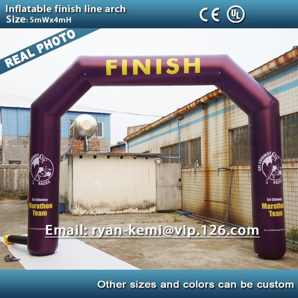 Livraison gratuite personnalisé 5 m x 4 m arc gonflable début ligne d'arrivée arc