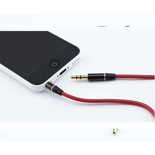 Premium Red Gold Tipped Aux Cable Stereo Audio 3.5mm Input Cord Male to Male for iphone phone mp3 mp4 latop pc ipad pad