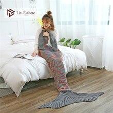 Liv-Esthete Fashion Colorful Mermaid Throw Blanket Knitted Handmade Blanket Super Sofa Best Gift For Adult Kids Child Blanket
