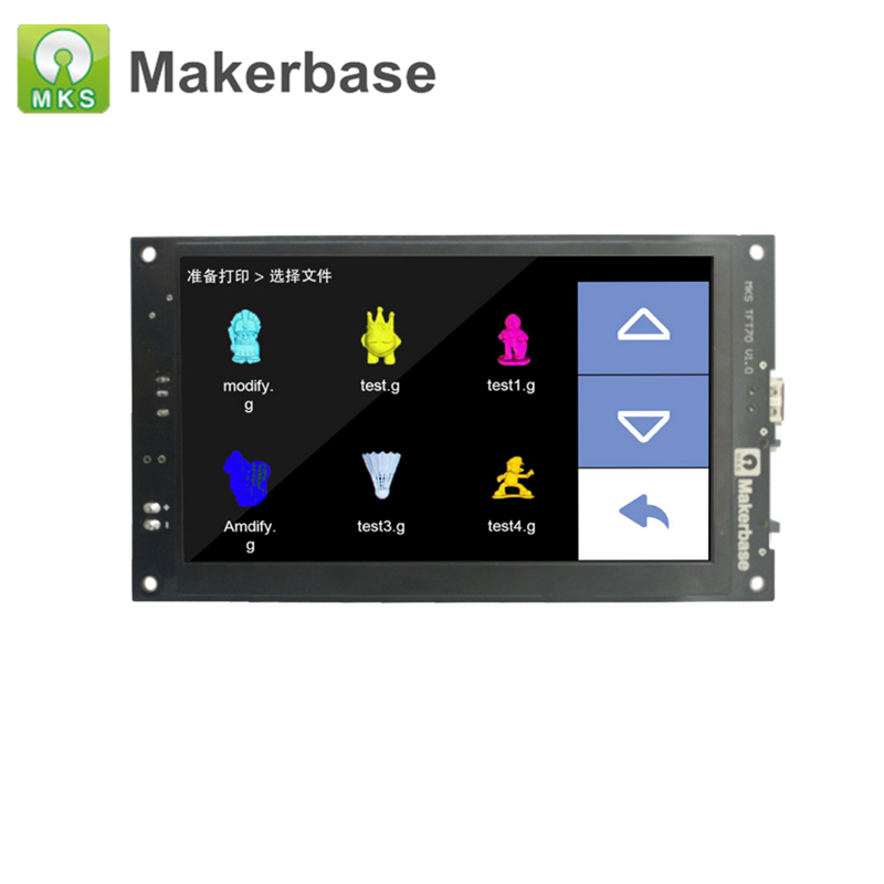 3D Printer Control Display MKS TFT70 7 inch Touch Screen Previews Gcode Model in the printing