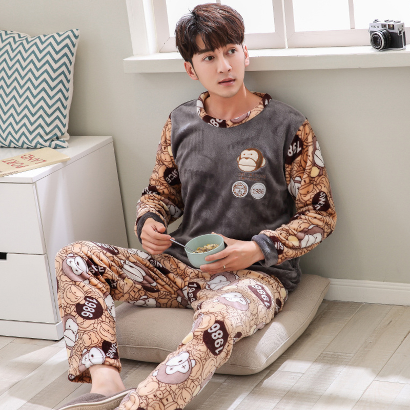 98d7e14ea4 Dropwow Men s Pajamas Set Autumn Winter Coral Fleece Warm Thicken ...