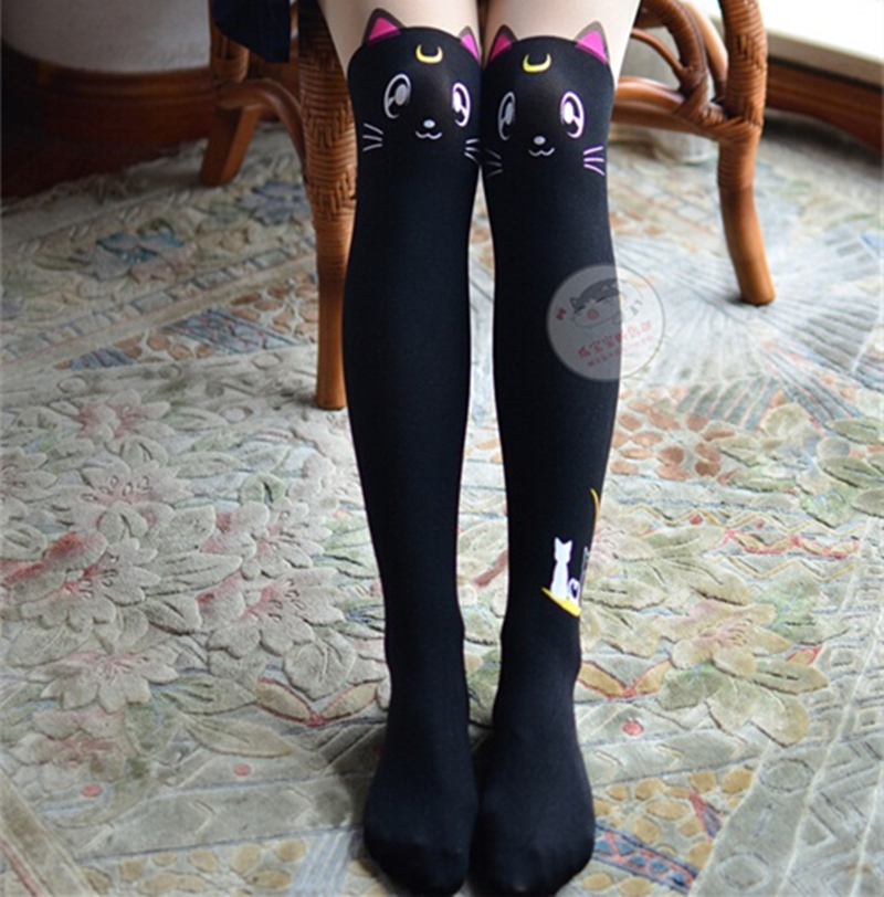 COYOUNG Brand Women Socks Anime  Silk Stockings Pantynose Panty-Hose Black White Amo Harajuku Socks