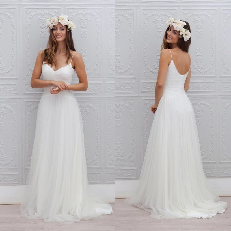 Summer Style Beach Wedding Dress Sexy V Neck Spaghetti Straps ...